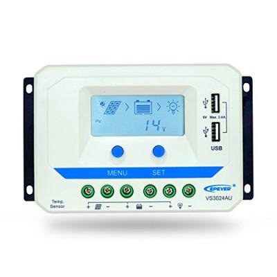 Regulador Solar RS 30A 12/24V Pantalla LCD y USB