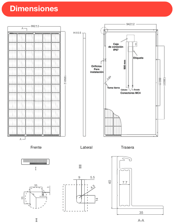 Panel solar 370W monocristalino medidas