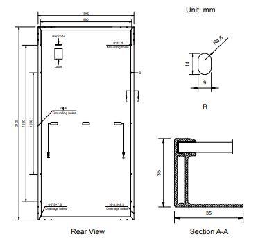 Dimensiones panel 450w Amerisolar
